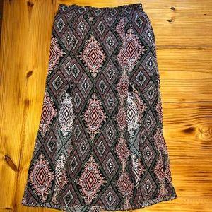 Patterned boho split maxi skirt